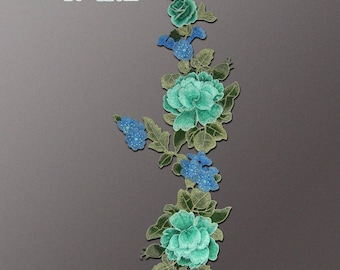 Jade Floral Appliques, Embroidered Patches