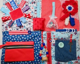 Kitties and Birdies Fidget Blanket, Quilt for Dementia, Alzheimer's, Stroke Rehab, Autism