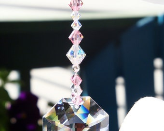 Rear View Mirror Charm Pink Swarovski Crystal Car Accessories Car Mirror Charm Suncatcher for Car