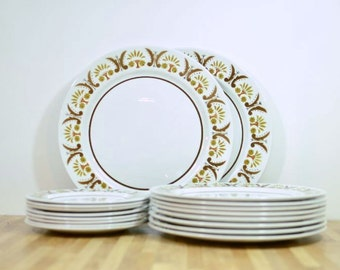 Mid Century Mikasa Rick Rack Dinnerware Set Serving for Eight Bonus Chop Plate Platter Dinner Plates and Bread and Butter Salad Plates