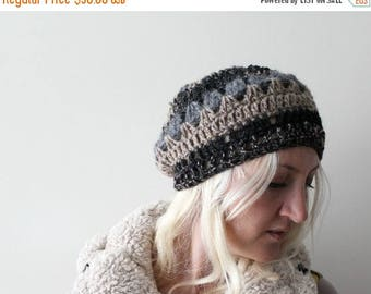 Sale Crochet Beret . Crochet beanie . crochet slouchy hat . crochet hat . womens crochet beanie . slouchy beanie . black knitted beanie