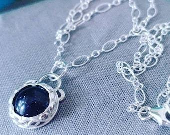 Sterling Silver * Blue Goldstone * Pendant * 18 inch chain