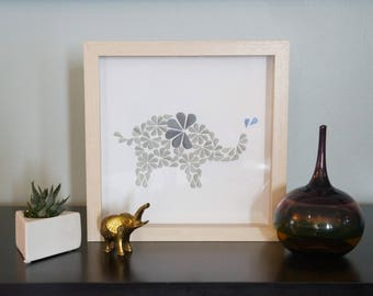 Baby Elephant - Unique Framed Paper Art for Home Decor. A Great Baby Shower Gift for a Children's Bedroom.  By DinoCat Studio