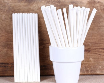 "4.5"" White Paper Lollipop Sticks, Cake Pop Sticks, Paper Lolly Sticks, Sucker Sticks, Wedding Cake Pop Sticks, Hard Candy Lollipop Sticks"