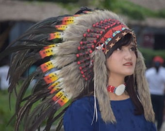 Double Feather Headdress Cool Black Warbonnet Headband Headgear Costume Native American Style Costume Chief Indian Festival Clothing