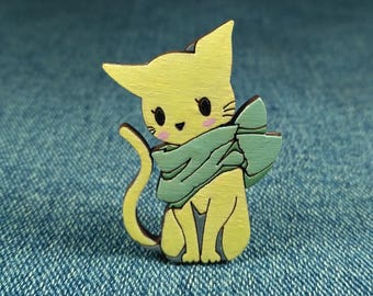 Cat brooch. Cute cat pin. Cat gifts. Cat lover gift. Cat accessory. Gift for Her. Cat badge. Animal Brooch. Cat jewelry.