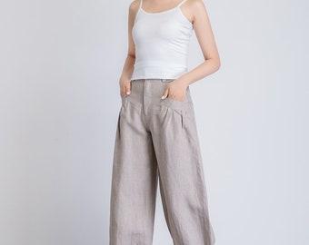 beige baggy pants, casual loose pants, baggy trousers women, maxi pants, loose fit pants, summer pants, pants with pockets 1940