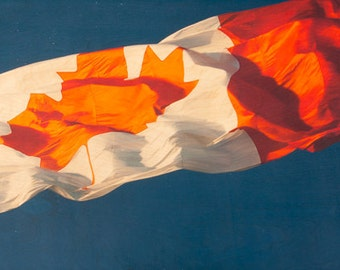 "Canada Flag Image Transfer on 16""x48"" Wood Panel by Patrick Lajoie - limited edition, fine art photo"