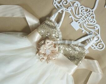 Champagne gold flower girl dress Gold sequin girl dress Gold flower girl dress Ivory flower girl dress Tulle flower girl dress