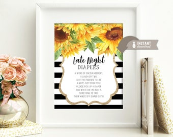 "Late Night Diapers 'Game' Table Sign: Sunflower Burlap Stripe Baby Design - 8"" x 10"" Instant-Download Printable File"