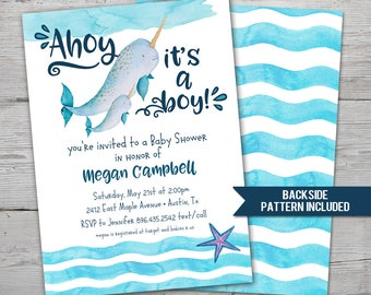 Narwhal Baby Shower Invitation, Narwhal Invitation, PRINTABLE, Narwhal Party, Narwhal Shower, Narwhale Invitation, Narwhal Baby Shower