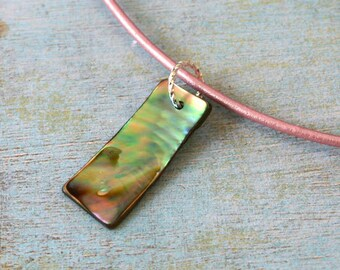 Leather Surfer Necklace Choker with Paua Shell Rectangle Beach Jewelry Vacation
