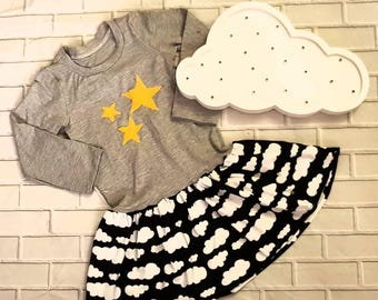 cloud/stars applique party dress