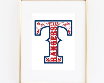 Texas Rangers Baseball Printable (8x10)