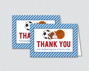 Printable Sports Themed Baby Shower Thank You Card - Printable Instant Download - Blue and Red Sports Thank You Card - 0015-B