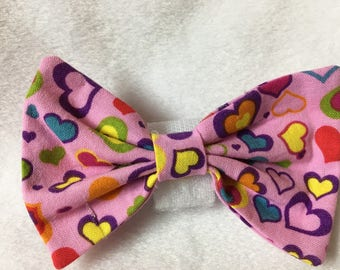 Custom Made Colorful Hearts on Pink Dog Bow Tie, Dog Collar, Pet Bow Tie, Cat Bow Tie, Rabbit Bow Tie, Pig Bow Tie