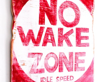 No Wake Zone Beach Sign Hand Painted on Reclaimed Wood Beach Decor Lake House Decor Beach Baby Nursery Kids Room Decor Beach Art  Mangoseed