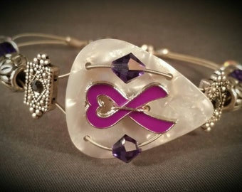 "Guitar pick and guitar string bracelet ""Relay for Life"""