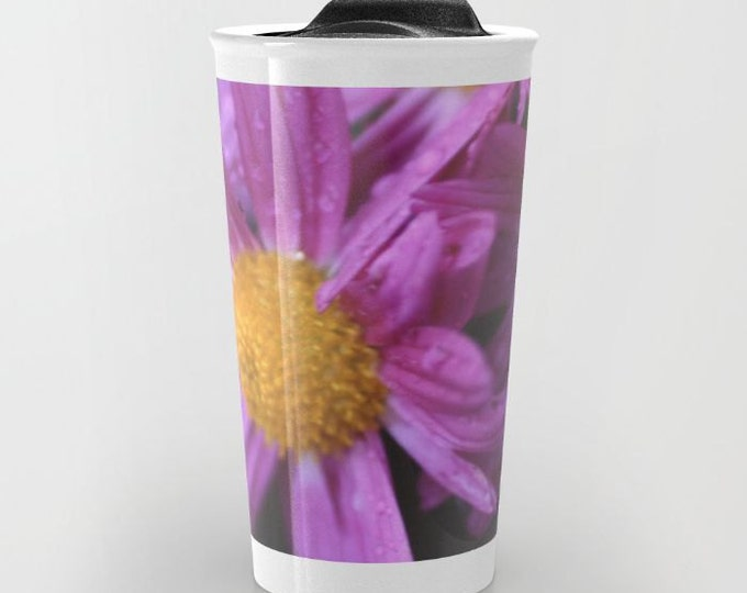 Purple Flower Ceramic Travel Mug -  Coffee Travel Mug - Nature Photo - Hot or Cold Travel Mug - 12oz Travel Mug -Made to Order