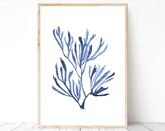 Blue Seaweed print watercolor painting nature