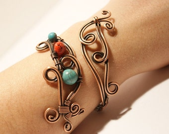 copper bracelet, turquoise and coral bracelet, wire wrapped jewelry handmade, wire bracelet in handmade
