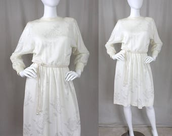 Vtg Ivory Sweater Dress with Roses | 70s 80s | S or S/M