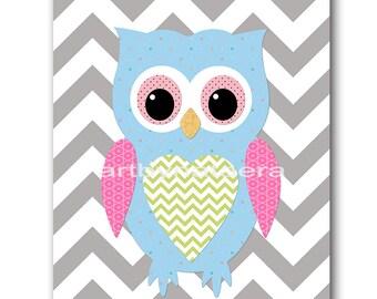 Owl Decor Digital Download Print Printable Art Instant Download Digital Kids Wall Art Baby Nursery Decor Baby Girl Nursery Print 8x10 11X14