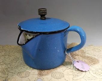 Antique Side Handle Pour Tea Kettle Graniteware Enamel Spatter Stove to Table French European #B1034