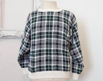 Bill Blass Vintage Cotton Sweater Blue Green White Plaid Check Men Sz Medium