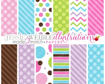 Made to Match: Cake Pops Cute Digital Papers - Commercial Use OK - Pretty Digital Backgrounds for Design