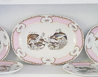 Dinnerset Limoges - Fishes in Pink Hand Painted
