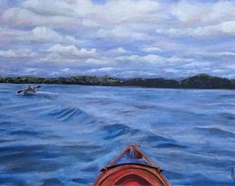 For The Love of Kayaking - Pastel Landscape print