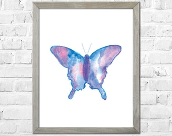 Butterfly Nursery Print, Kids Room Decor, Nursery Art, Nursery Wall Art, Baby Girl Nursery, Girl Room Decor, Watercolor Painting