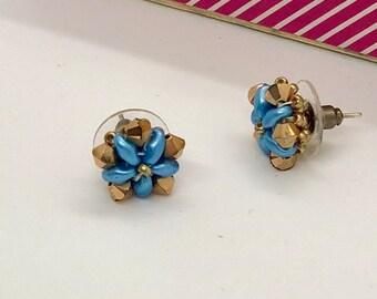 Blue flowers earrings, swarovski earrings, blue and gold earrings, party earrings, star earrings, handmade earrings