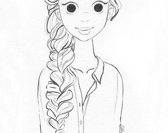 Girl, Braid, Print