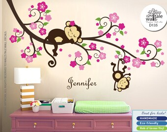Pink Green Monkey Wall Decal with Flowers and Name. Girl Nursery Stickers with cute Monkeys and Name decal for Baby room, d135