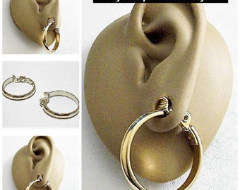 Monet Extra Large Wide Band Hoops Clip On Earrings Gold Tone Vintage Big Polished Domed Open Ring Dangles Comfort Paddles