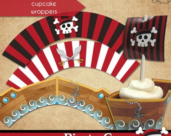 Pirate Cove Cupcake Wrappers • PRINTABLE Birthday • by The Occasional Day