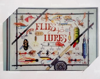 Janlynn Flies and Lures Counted Cross Stitch Kit, Fishing Fisherman Fisherwoman