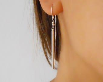 Silver Stick Threader Earrings, Silver Threaders, Minimal Silver Earrings, Long Silver Earrings, Silver Dangling Earrings, #746