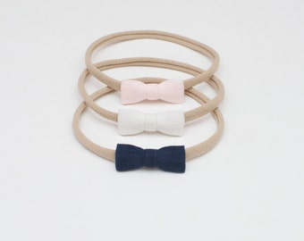 Set of 3 Natural Linen Mini Tiny Small Bows Baby Girl Headbands Navy Ivory Pastel Pink