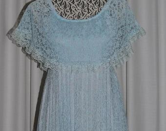 Vintage  Lavender Lace Pleated Maxi Dress by ALGO-ETTES Canada 1970s.