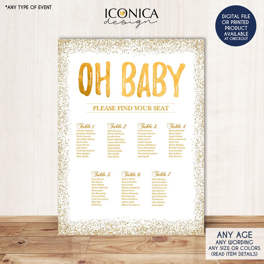 Baby shower seating chart board oh baby gold seating chart zoom nvjuhfo Image collections