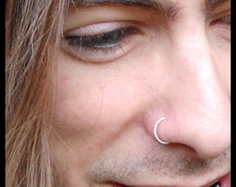 Mens Twisted Silver Nose Ring/ Guys Sterling Nose Ring / Mens Nose Jewelry 20G Nose Ring/18G Nose Ring CUSTOMIZE