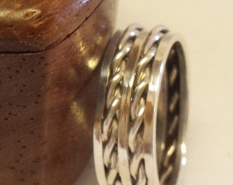 Double Hand twisted Intetior Sterling Silver Band