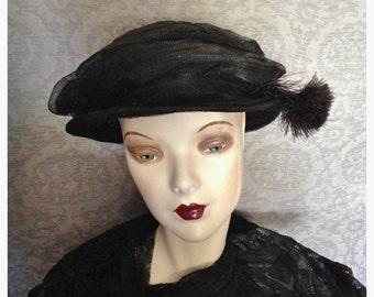 Edwardian 1900s, Teens,1920s Black Horsehair Slouch, Pancake Hat, Medium