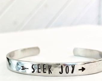 Seek Joy - Hand Stamped Cuff Bracelet - Silver, Aluminum