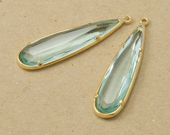 Erinite Drop Glass Pendant, Glass Pendant, Jewelry Supplies, Polished Gold Plated over Brass - 2 pieces-[BGP0029]-ERINITE/PG