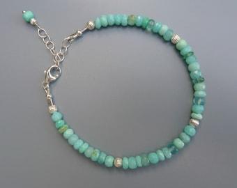 Gemstone Stacking Bracelet, Peruvian Opal Bracelet, Gemstone Layering Bracelet, Blue Opal Bracelet, Silver Stack Bracelet,October Birthstone
