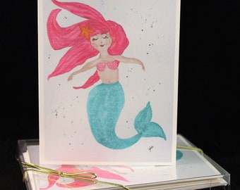 Mermaid rOriginal Watercolor PRINT Note Card Set, Watercolor Cards, mermaid Cards, Watercolor mermaid Cards,